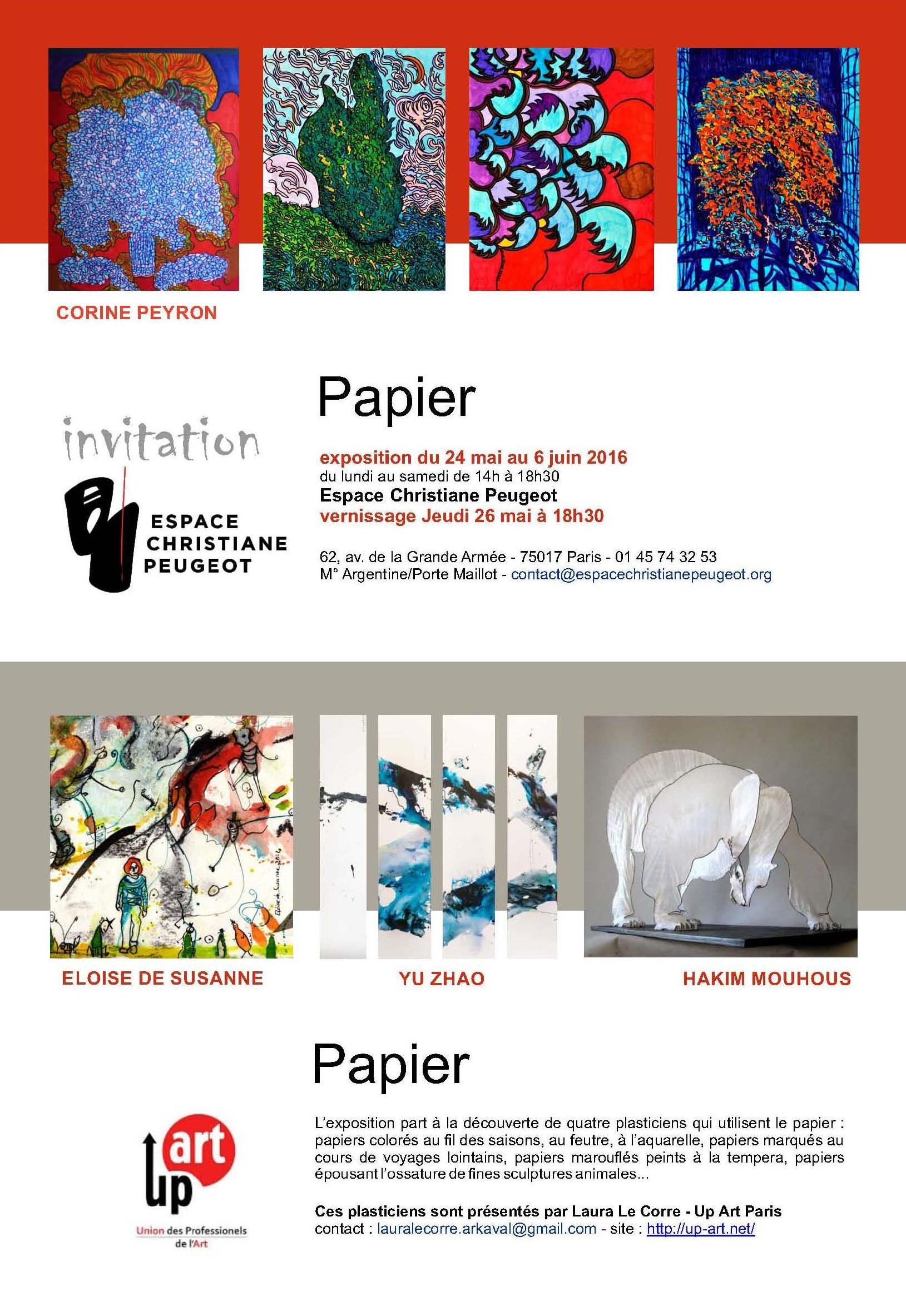 Papier exposition peinture Espace Christiane Peugeot Paris 17e 2016